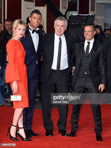 Cristiano Ronaldo Carlo Ancelotti and Jorge Mendes attend the World Premiere of 'Ronaldo' at Vue West End on November 9 2015 in London England