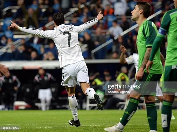 Cristiano Ronaldo celebrates after his goal during the Spanish La Liga soccer match between Real Madrid and RC Celta at the Santiago Bernabeu stadium...