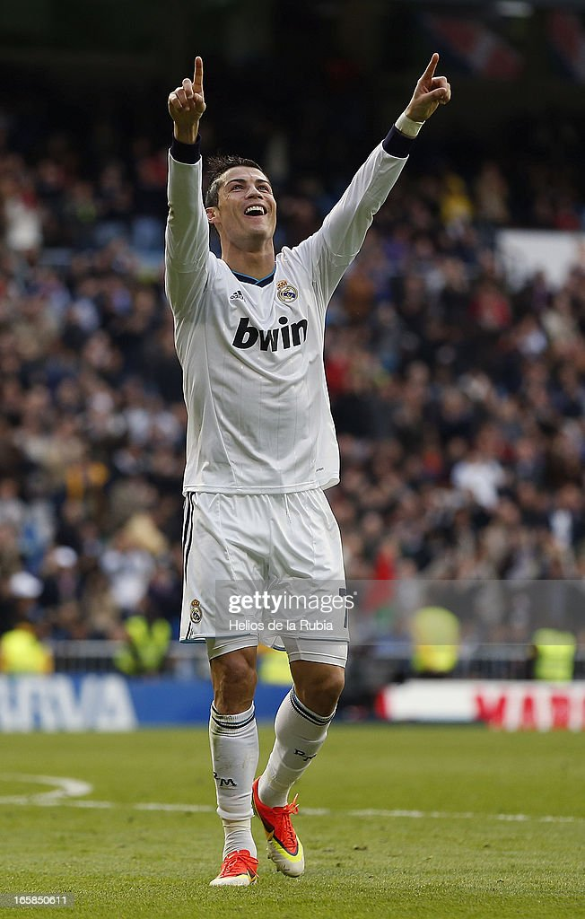 Cristiano Ronaldo celebrates after scoring during the La Liga match between Real Madrid and Levante at Estadio Santiago Bernabeu on April 6, 2013 in Madrid, Spain.