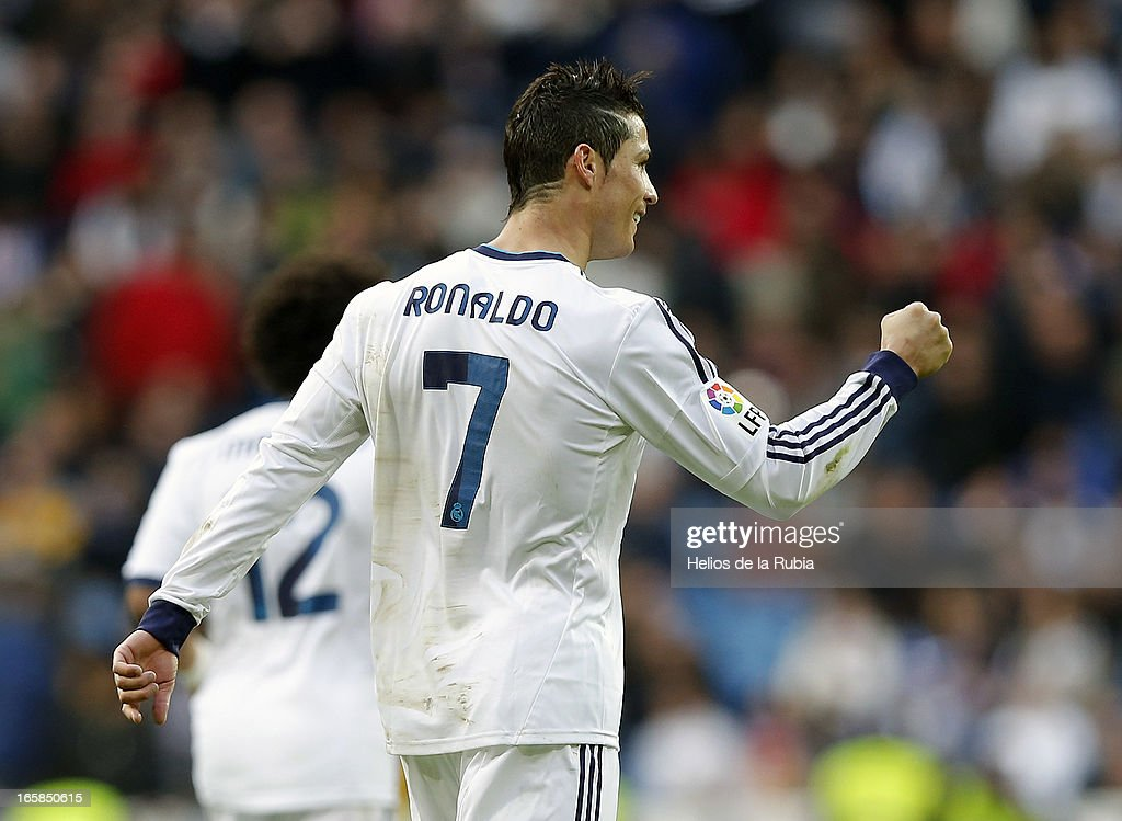 Cristiano Ronaldo celebrates after scoring during the La Liga match between Real Madrid and Levante at Estadio Santiago Bernabeu on April 6, 2013 in Madrid, Spain.