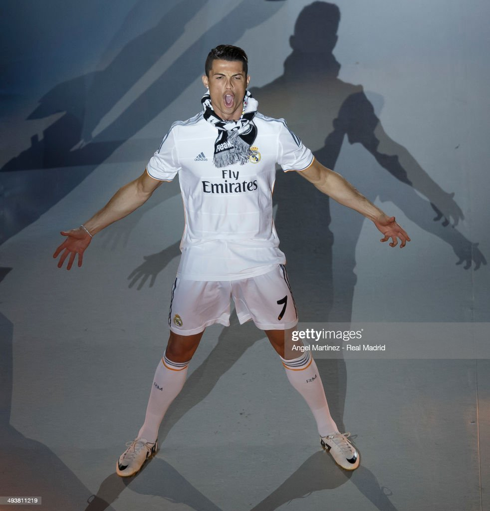 Cristiano Ronaldo celebrates during the Real Madrid celebration the day after winning the UEFA Champions League Final at Santiago Bernabeu stadium on May 25, 2014 in Madrid, Spain.