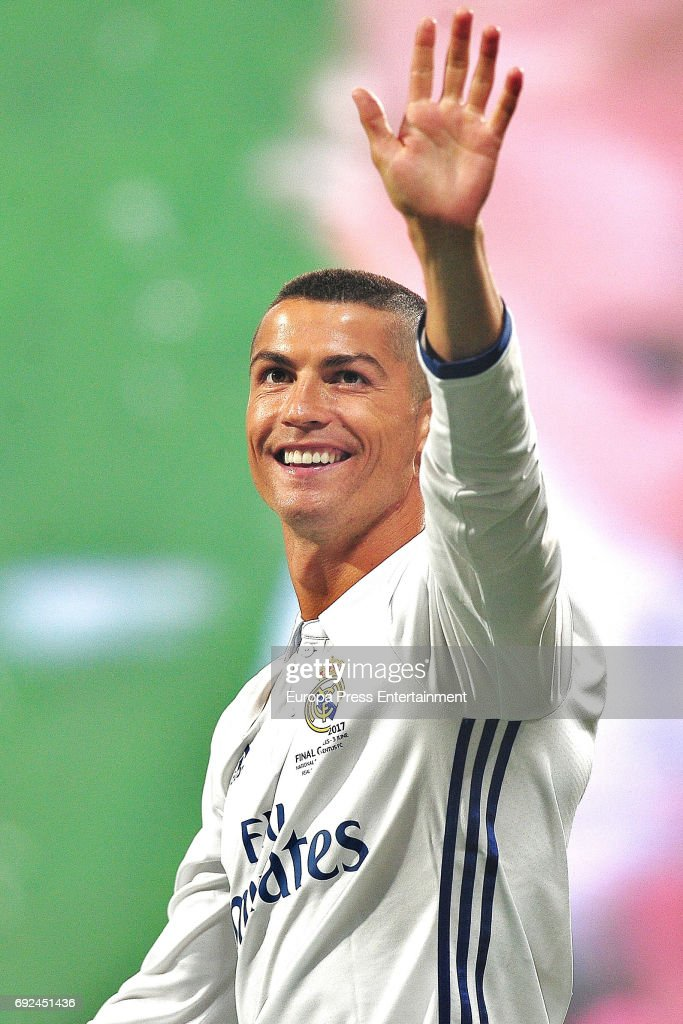 Cristiano Ronaldo celebrates during the Real Madrid celebration the day after winning the 12th UEFA Champions League Final at Santiago Bernabeu stadium on June 4, 2017 in Madrid, Spain.
