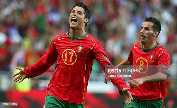 Cristiano Ronaldo celebrates his goal for Portugal during the 2006 World Cup Group 3 qualification match between Portugal and Slovakia at the Estadio...