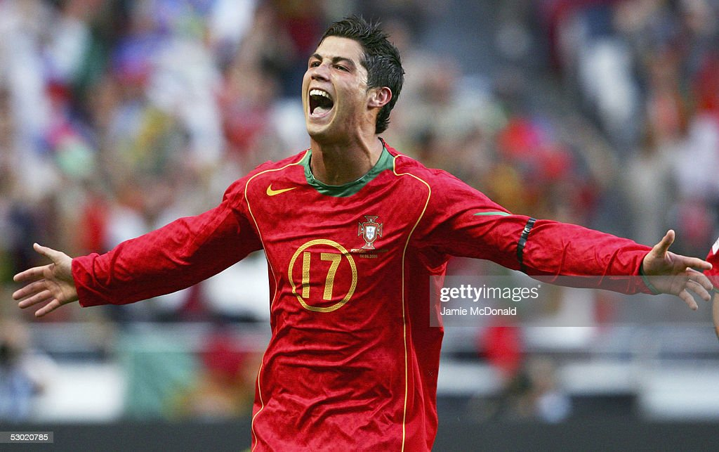 <a gi-track='captionPersonalityLinkClicked' href=/galleries/search?phrase=Cristiano+Ronaldo+-+Soccer+Player&family=editorial&specificpeople=162689 ng-click='$event.stopPropagation()'>Cristiano Ronaldo</a> celebrates his goal for Portugal during the 2006 World Cup, Group 3 qualification match between Portugal and Slovakia at the Estadio da Luz on June 4, 2005 in Lisbon, Portugal.