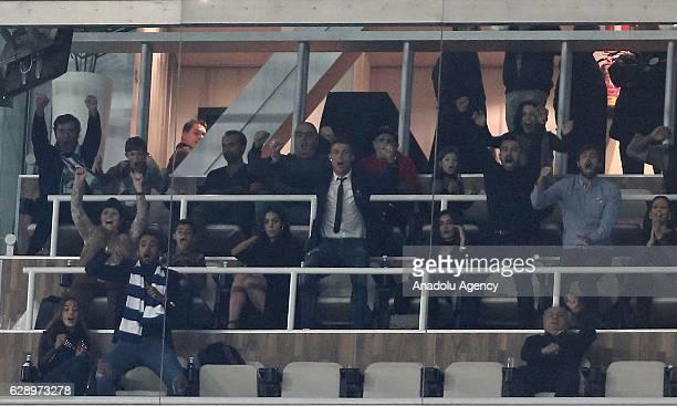 Cristiano Ronaldo celebrates in tribune with his mother Maria Dolores dos Santos Aveiro his son Cristiano Ronaldo JR and Georgina Rodriguez after...