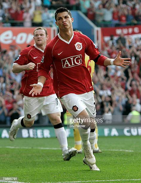 Cristiano Ronaldo celebrates scoring the second Manchester United goal during the FA Cup Semi Final Sponsored by EON match between Watford and...