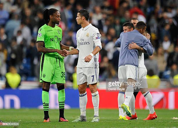Cristiano Ronaldo chats of Real Madrid CF chats with Ruben Semedo of Sporting Clube de Portugal after beating Sporting Clube de Portugal 21 in the...