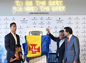 Cristiano Ronaldo Cristiano Ronaldo Jr Dionisio Pestana and Miguel Albuquerque during the opening of the new 'Pestana CR7 Funchal' Hotel owned by...