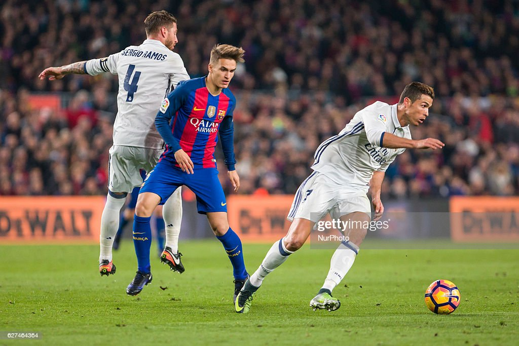 Cristiano Ronaldo Denis Suarez and Sergio Ramos during the match between FC Barcelona vs Real Madrid for the round 14 of the Liga Santander played at...