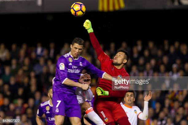 07 Cristiano Ronaldo Dos Santos of Real Madrid and 01 Valencia's CF goalkeeper Diego Alves during the Spanish La Liga Santander soccer match between...