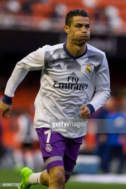 07 Cristiano Ronaldo Dos Santos of Real Madrid before the Spanish La Liga Santander soccer match between Valencia CF vs Real Madrid at Mestalla...