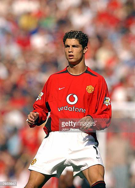 Cristiano Ronaldo during the FA Barclaycard Premiership match between Manchester United v Bolton Wanderers at Old Trafford on August 16 2003 in...
