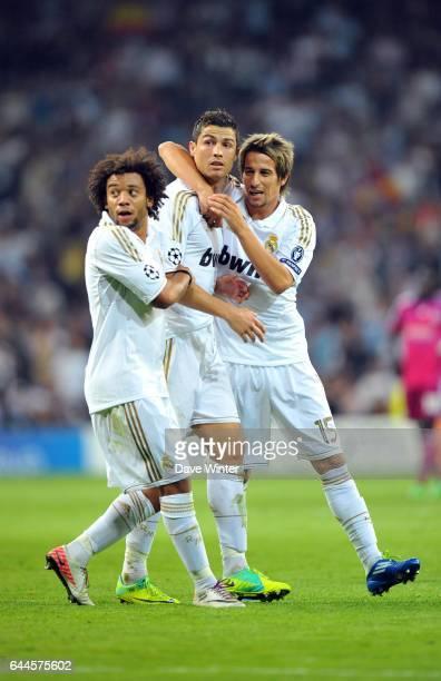 MARCELO / Cristiano RONALDO / Fabio COENTRAO Real Madrid / Lyon Ligue des Champions Groupe D 3e journee Photo Dave Winter / Icon Sport