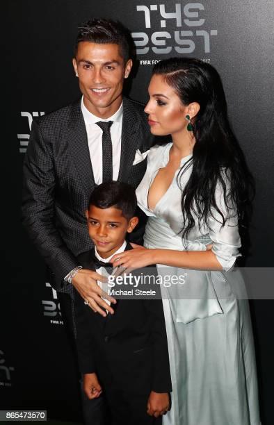 Cristiano Ronaldo his son Cristiano Ronaldo Junior and Georgina Rodriguez arrive for The Best FIFA Football Awards Green Carpet Arrivals on October...