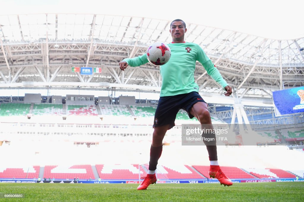 Cristiano Ronaldo in action during the Portugal Training and Press Conference on June 17, 2017 in Kazan, Russia.