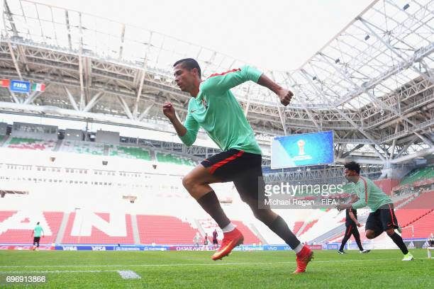 Cristiano Ronaldo in action during the Portugal Training and Press Conference on June 17 2017 in Kazan Russia