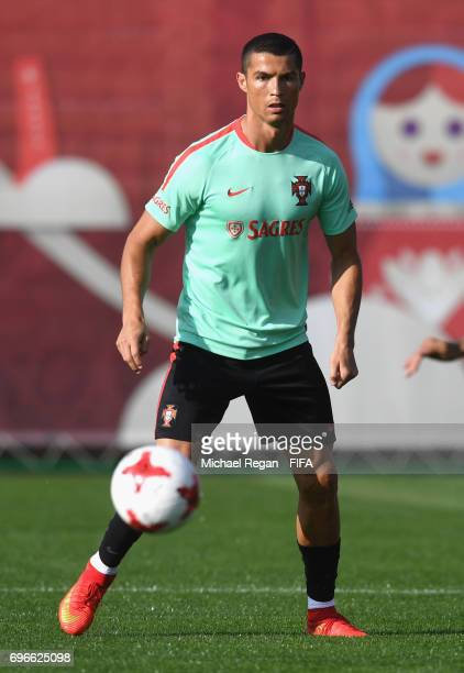 Cristiano Ronaldo in action during the Portugal training session on June 16 2017 in Kazan Russia