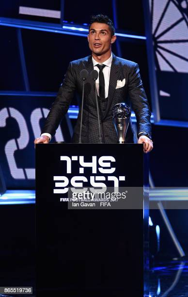 Cristiano Ronaldo is awarded The Best FIFA Men's Player award during The Best FIFA Football Awards at The London Palladium on October 23 2017 in...
