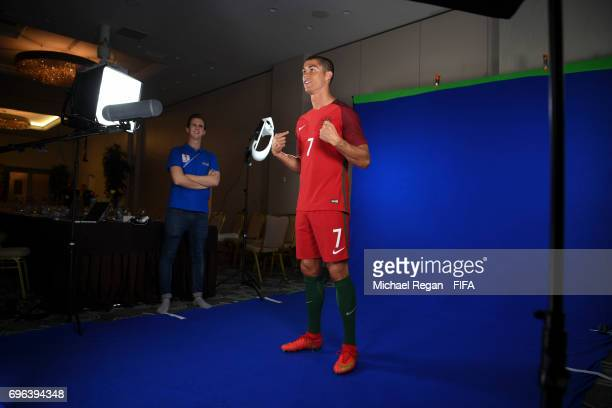 Cristiano Ronaldo is filmed during the Portugal team portrait session on June 15 2017 in Kazan Russia
