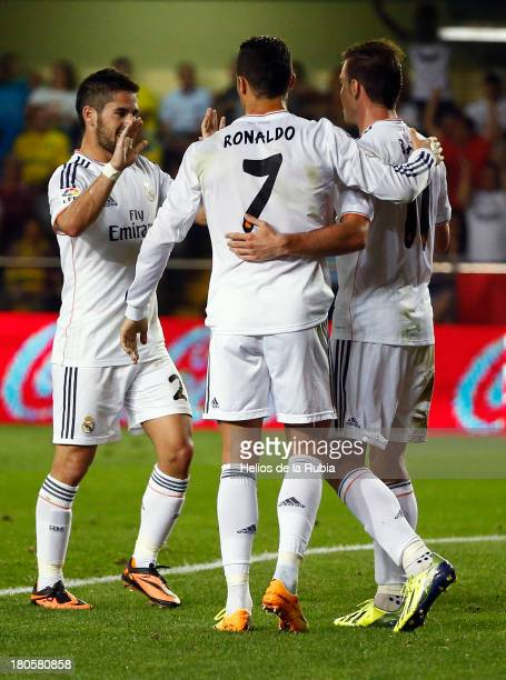 Cristiano Ronaldo Isco and Gareth Bale of Real Madrid celebrate after scoring during the Liga match betweed Villarreal CF and Real Madrid CF at El...