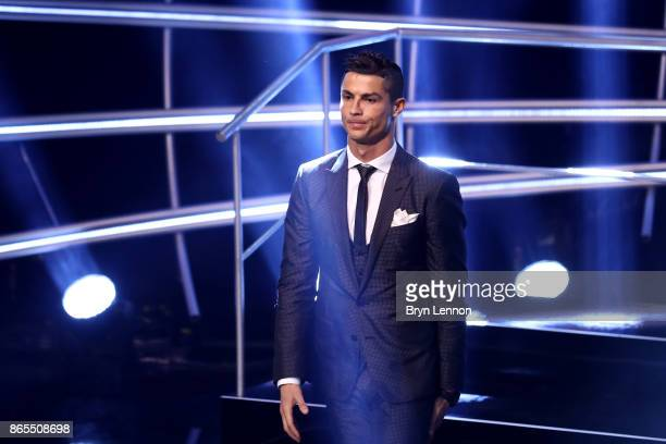 Cristiano Ronaldo leaves the stage after being named in The Fifa FifPro World XI during The Best FIFA Football Awards Show on October 23 2017 in...