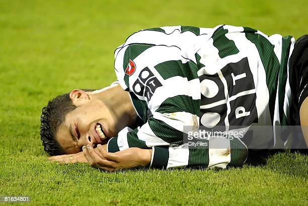 Cristiano Ronaldo lies injured playing for Sporting Lisbon aged 17 January 30 before his transfer to the English Premiership team Manchester United