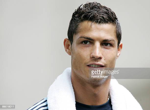 Cristiano Ronaldo looks on after the Real Madrid preseason training camp at Carton House Hotel on July 14 2009 in Kildare Ireland
