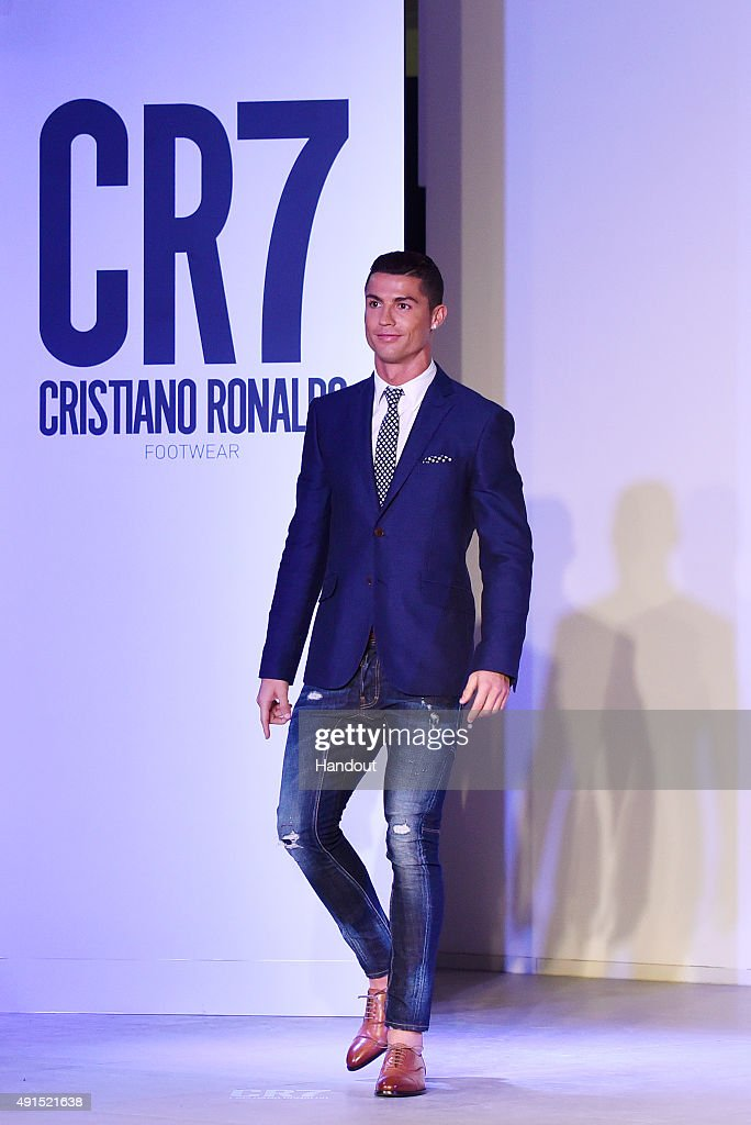 <a gi-track='captionPersonalityLinkClicked' href=/galleries/search?phrase=Cristiano+Ronaldo+-+Voetballer&family=editorial&specificpeople=162689 ng-click='$event.stopPropagation()'>Cristiano Ronaldo</a> makes his catwalk debut to model new styles at the global launch of his FW15 CR7 Footwear collection on October 5, 2015 in Guimaraes, Portugal.