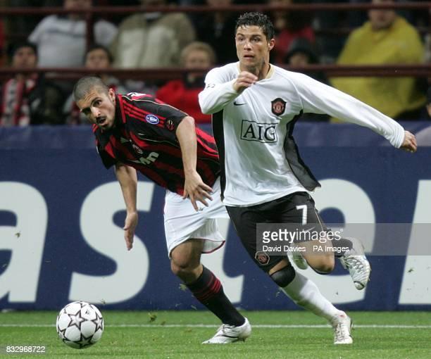 Cristiano Ronaldo Manchester United and Gennaro Gattuso AC Milan battle for the ball