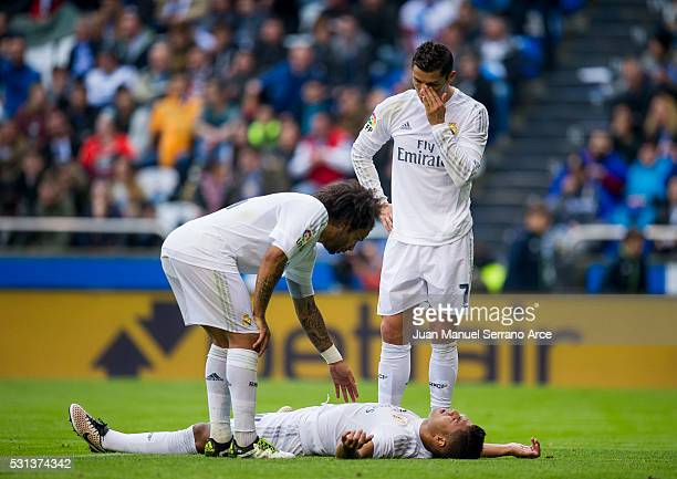 Cristiano Ronaldo Marcelo Vieira da Silva and Casemiro of Real Madrid reacts during the La Liga match between RC Deportivo La Coruna and Real Madrid...