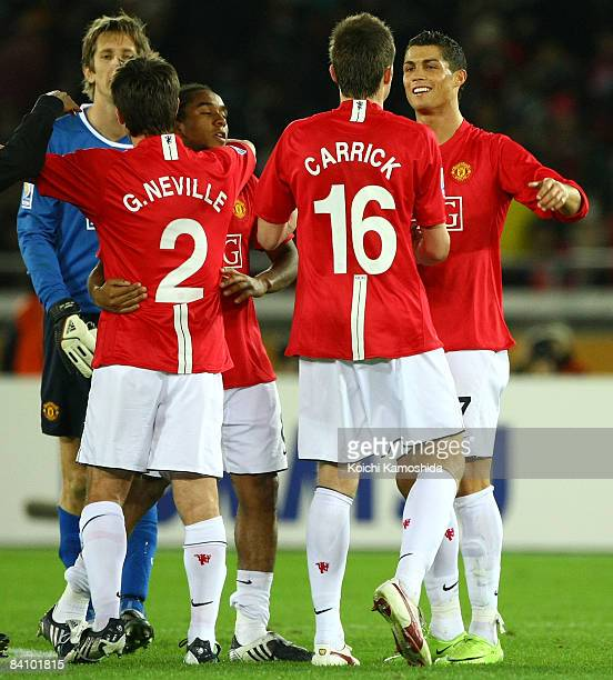Cristiano Ronaldo Michael Carrick and players of Manchester United celebrate the win over Liga de Quito after the FIFA Club World Cup Japan 2008...