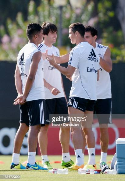 Cristiano Ronaldo od Real Madrid Pepe Kaka and Carlos Henrique Casimiro during training session at UCLA on August 2 2013 in Los Angeles California...