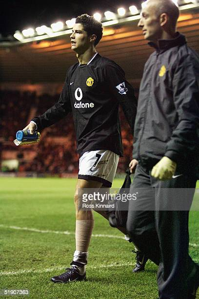 Cristiano Ronaldo of Manchester leaves the field injured during the Barclays Premiership match between Middlesbrough and Manchester United at the...