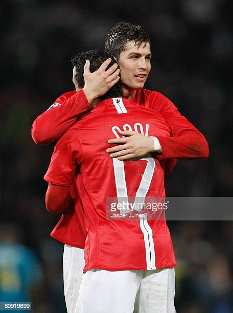 Cristiano Ronaldo of Manchester United and Nani celebrate victory at the end of the UEFA Champions League Semi Final second leg match between...