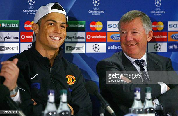 Cristiano Ronaldo of Manchester United and Sir Alex Ferguson the manager of Manchester United face the media during a press conference held at Old...