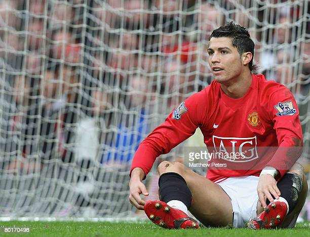 Cristiano Ronaldo of Manchester United appeals for a penalty during the FA Cup sponsored by eon QuarterFinal match between Manchester United and...