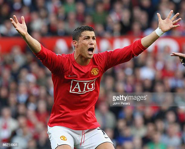 Cristiano Ronaldo of Manchester United appeals for handball during the Barclays Premier League match between Manchester United and Tottenham Hotspur...