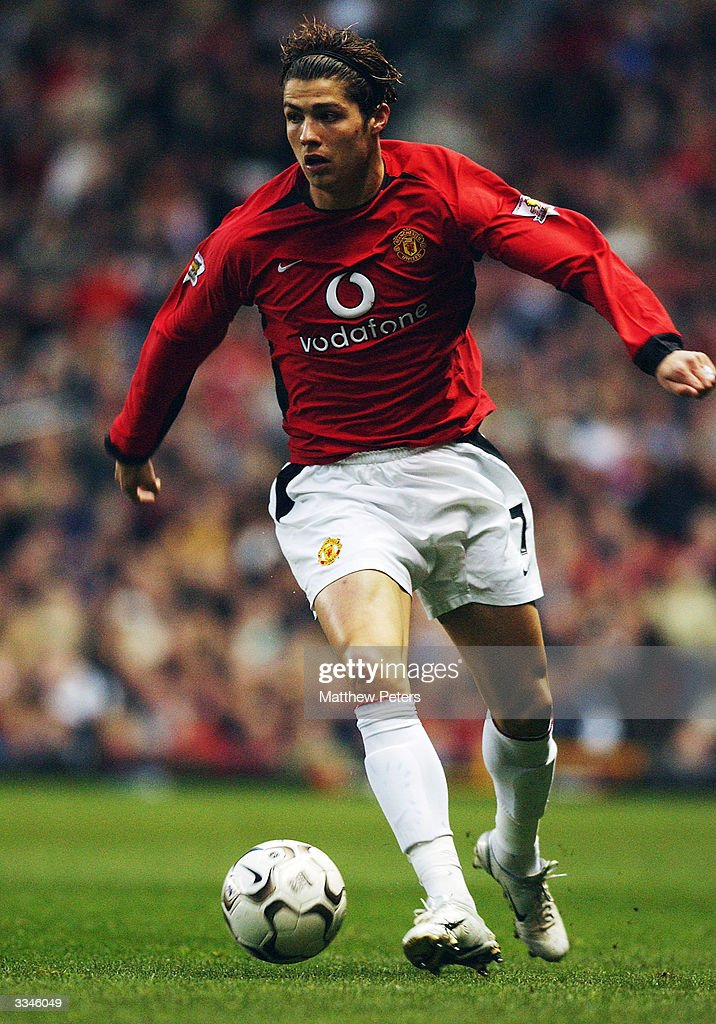 <a gi-track='captionPersonalityLinkClicked' href=/galleries/search?phrase=Cristiano+Ronaldo+-+Soccer+Player&family=editorial&specificpeople=162689 ng-click='$event.stopPropagation()'>Cristiano Ronaldo</a> of Manchester United brings the ball forward during the FA Barclaycard Premiership match between Manchester United and Leicester City at Old Trafford on April 13, 2004 in Manchester, England.