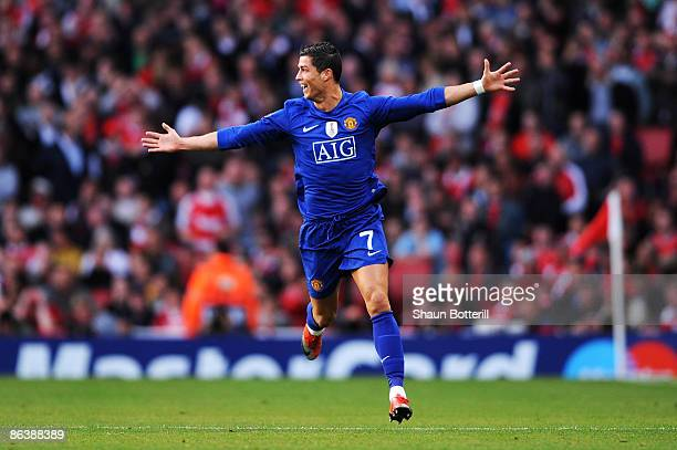 Cristiano Ronaldo of Manchester United celebrates scoring the second goal of the game during the UEFA Champions League Semi Final Second Leg match...