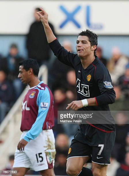 Cristiano Ronaldo of Manchester United celebrates scoring their first goal during the Barclays FA Premier League match between West Ham United and...