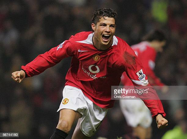 Cristiano Ronaldo of Manchester United celebrates scoring their fourth goal during the Barclays Premiership match between Manchester United and...