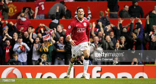 Cristiano Ronaldo of Manchester United celebrates scoring their fourth goal during the UEFA Champions League Quarter Final second leg match between...