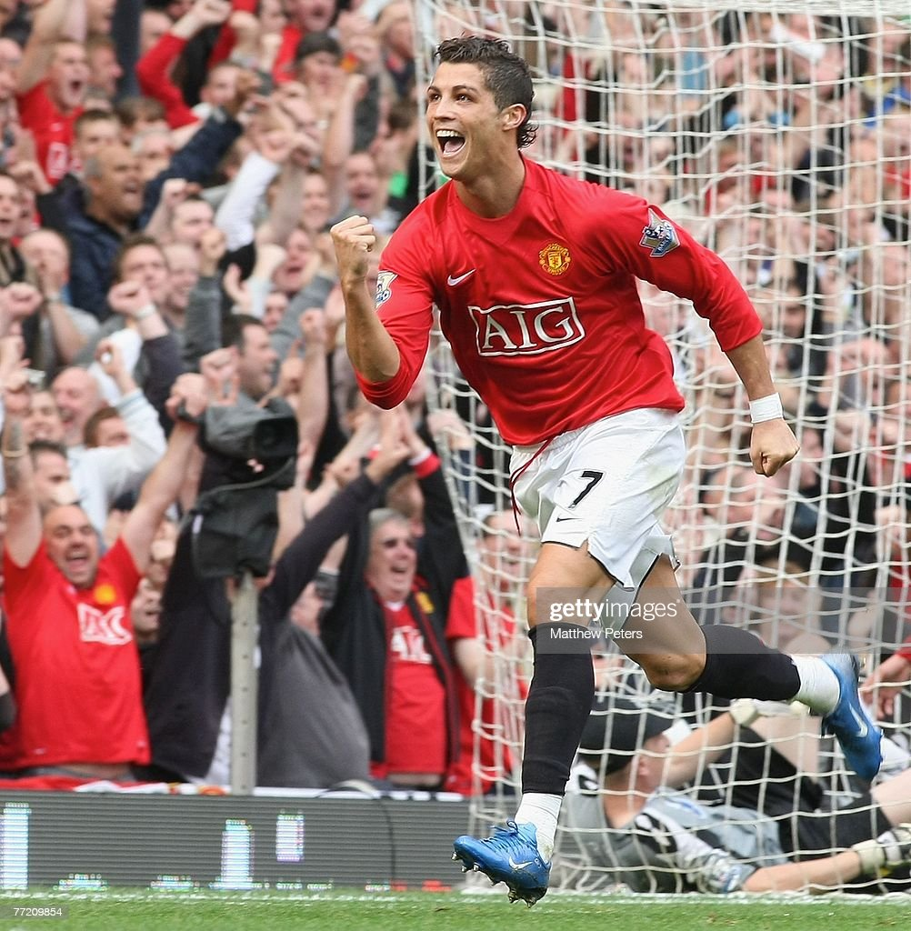 Cristiano Ronaldo of Manchester United celebrates scoring their second goal during the Barclays FA Premier League match between Manchester United and Wigan Athletic at Old Trafford on October 6 2007, in Manchester, England.