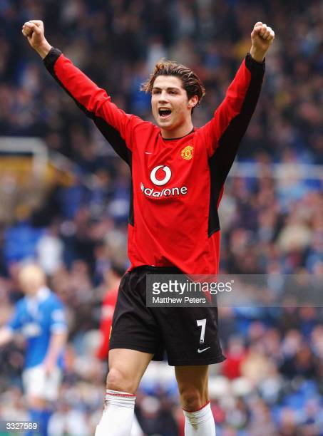 Cristiano Ronaldo of Manchester United celebrates scoring United's first goal during the FA Barclaycard Premiership match between Birmingham City and...
