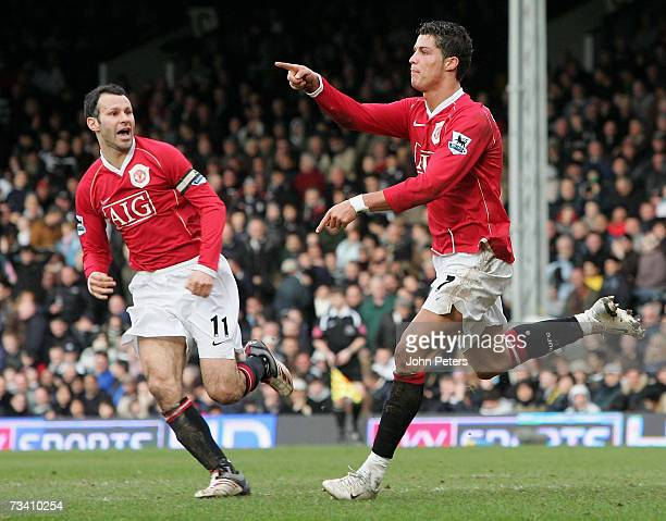 Cristiano Ronaldo of Manchester United celebrates scoring United's second goal during the Barclays Premiership match between Fulham and Manchester...