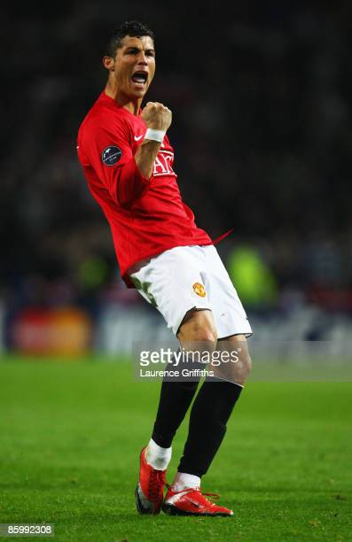 Cristiano Ronaldo of Manchester United celebrates victory after the UEFA Champions League Quarter Final second leg match between FC Porto and...