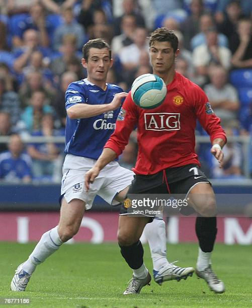 Cristiano Ronaldo of Manchester United clashes with Leighton Baines of Everton during the Barclays FA Premier League match between Everton and...