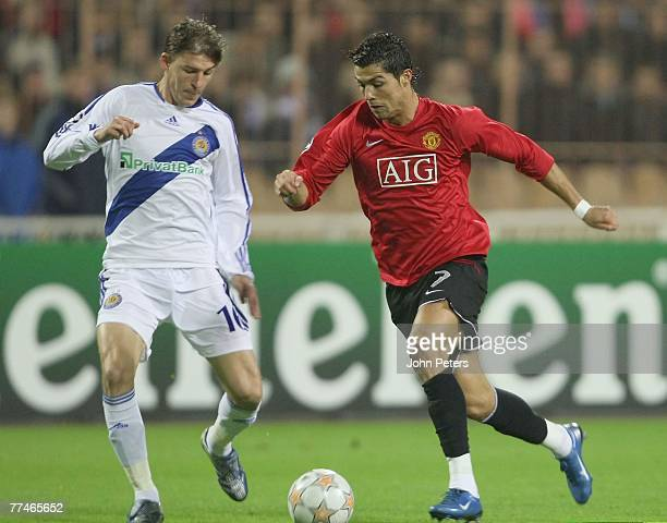 Cristiano Ronaldo of Manchester United clashes with Maksim Shatskikh of FC Dynamo Kiev during the UEFA Champions League Group F match between FC...