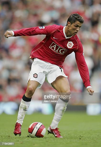 Cristiano Ronaldo of Manchester United controls the ball during the Barclays Premiership match between Manchester United and Arsenal at Old Trafford...