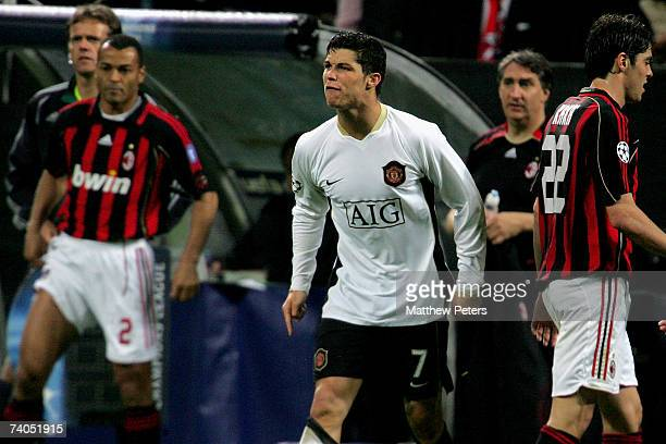 Cristiano Ronaldo of Manchester United disputes a referee's decision during the UEFA Champions League SemiFinal Second Leg match between AC Milan and...